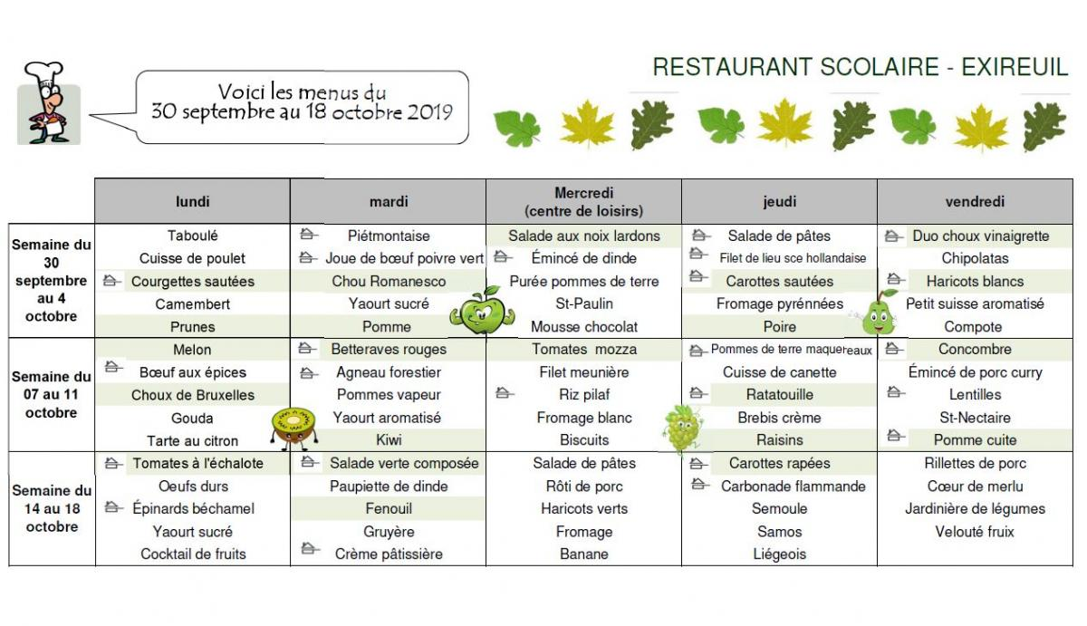 Menu octobre cantine